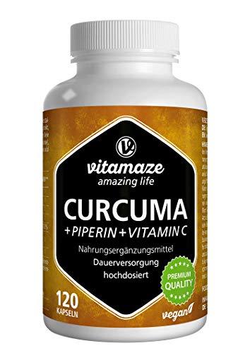 Vitamaze Cúrcuma Cápsulas + Curcumina Piperina + Vitamina C, 120 Cápsulas Veganas Altamente Biodisponible, 95% Natural Pura Extracto Curcumina, Suplemento sin Aditivos Innecesarios