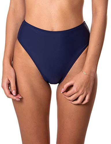 RELLECIGA Damen Bademode High Waist Bikini-Hose Slip Bottom Retro Navy Blau M