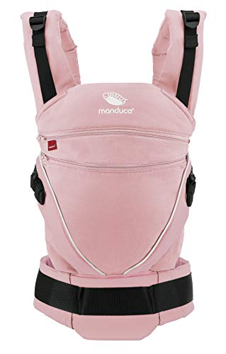 manduca XT Babytrage > SummerEdition rose < Babytrage für Neugeborene ab Geburt, verstellbarer Steg, 3 Trage-Positionen, flexibles Tragesystem, Bio-Baumwolle, für Babys & Kleinkinder (3,5-20kg)