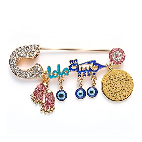 XiaoG Islam Muslim Baby Footprint Turkish Evil Eye and Quran Pendant Brooch Clothing Pins (Color : Gold-Color)