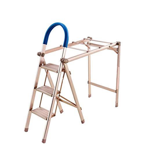 ZAIHW 2 en 1 de Aluminio Ligero de 3 Escalera Plegable con Estilo de conexión Diseño Escalera Plegable Invisible con Antideslizante Robusta y Ancha Escalera Pedal de Fotografía, Hogar y Pintura