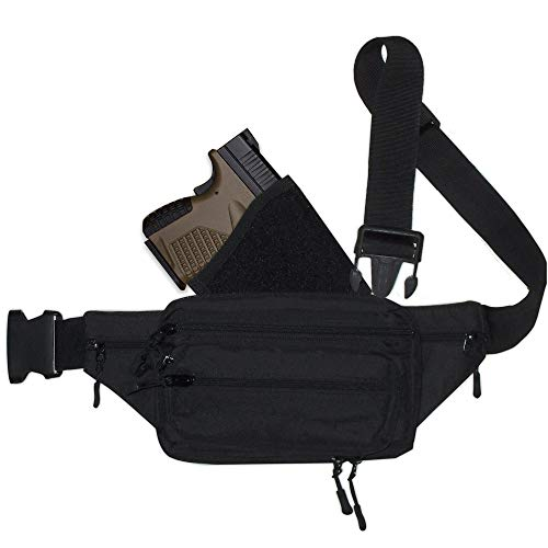 Simply Things Fanny Pack Holster. Tactical Pistol Pack for Concealed Carry. This Black Nylon Fanny Pack for Guns has numerous Compartments with an Adjustable - Removable Holster (Small)