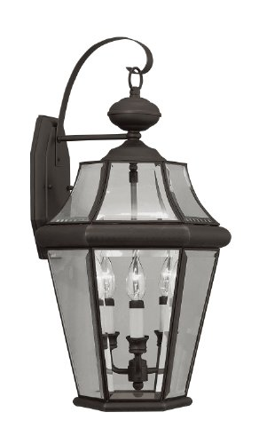 Livex Lighting 2361-07 Outdoor Wall Lantern with Clear Beveled Glass Shades, Bronze