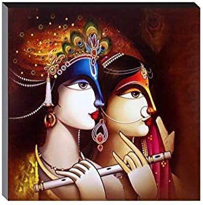 SAF 6 MM Radha Krishna UV Textured Self Installation Digital Reprint 12 inch x 12 inch Painting SAFJG06180