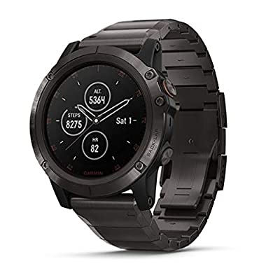 Garmin fenix 5X Plus, Ultimate Multisport GPS Smartwatch, Features Color Topo Maps and Pulse Ox, Heart Rate Monitoring, Music and Contactless Payment, Gray with Titanium Band