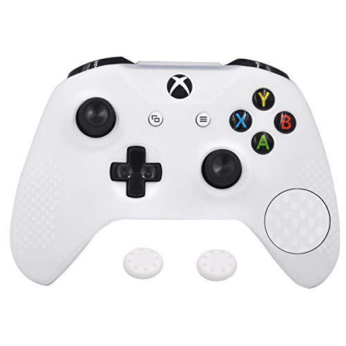 Antil-Slip Silicone Controller Cover Protective Case for Xbox One S Slim/Xbox One X Controller Soft Cover Skin with 2 Thumb Grip(White)