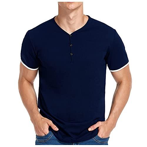 Freizeithemd Herren Slub Henley T-Shirt V-Ausschnitt Kurz Ärmel T Shirt Oberteil Leicht Entspannt Passen Beiläufig mit 3 Knöpfen Knopfleiste Rundhals Hemden Slim-Fit Shirt Baumwolle Komfortabel Bluse