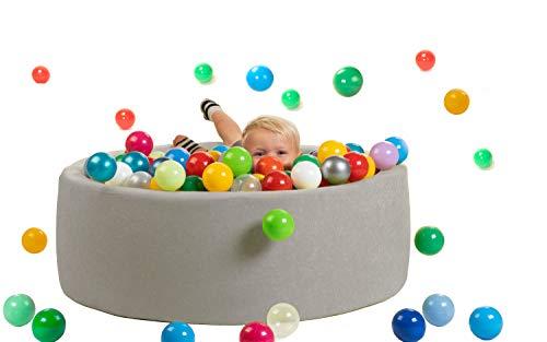 sunnypillow Bällebad für Baby Kinder mit 200 bunten Bällen∅ 7cm Bällepool 90x30cm viele Farben zur Auswahl Spielbälle Kugelbad Spielbecken Farbe : grau