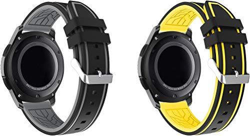 Correa de Reloj de Silicona Suave 22mm, Repuesto Ideal (22mm, 2PCS D)