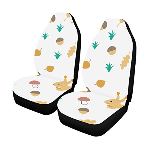 Best Price Universal Car Seat Covers Front Seats 2pc Autumn Squirrels Stump Mushrooms Vehicle Seat P...