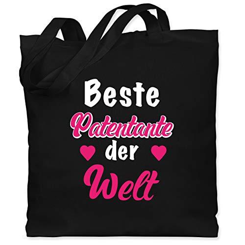 Shirtracer Schwester und Tante Geschenk - Beste Patentante - Unisize - Schwarz - Geschenk - WM101 - Stoffbeutel aus Baumwolle Jutebeutel lange Henkel