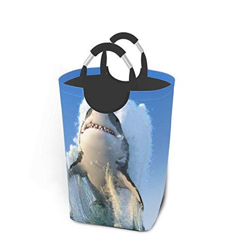 ELIENONO Sac à Linge,Grand Panier à Linge Pliable,Grand Requin Blanc sautant Hors de l'océan,Panier à Linge Pliable,bac de Rangement de Lavage Pliable