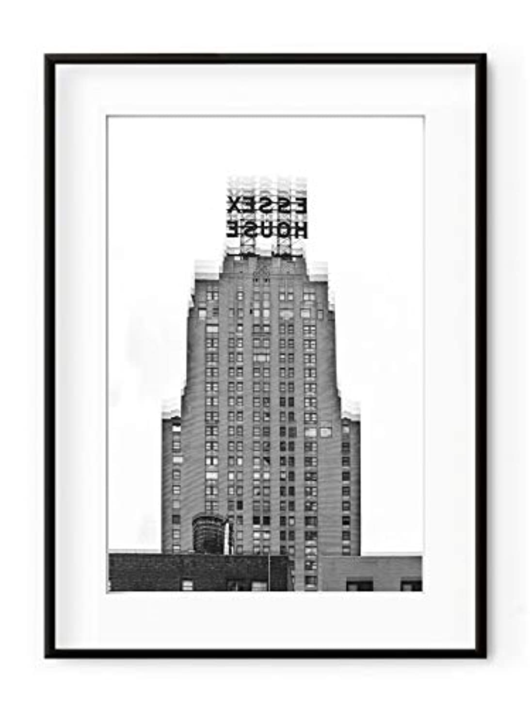 Architecture Minimalist Black Satin Aluminium Frame with Mount, Multicolored, 30x40