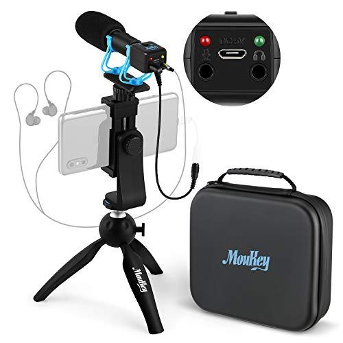 Moukey Micrófono de Cámara con Función de Vigilancia, Mini Trípode y Caja Impermeable IP4, Video Shotgun Mic Externa para iPhone/teléfono/DSLR/Canon/Nikon/Sony