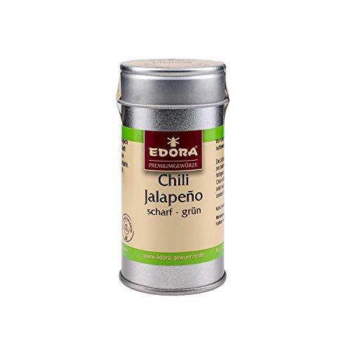 Premium Qualität Gewürz EDORA Streudose Streuer Chili Jalapeno grün gemahlen Schärfegrad 5 = 22.000 - 30.000 Scoville-Units 30 Gramm
