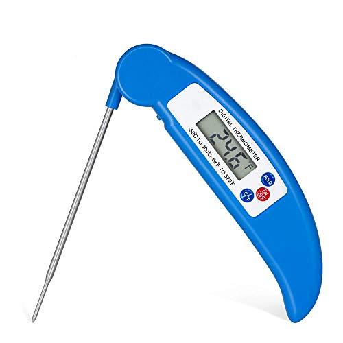 meat thermometer Folding Probe Best Super Fast Electric Meat Thermometer Probe for Grill Deep Fry BBQ Milk both Indoor& Outdoor-blue