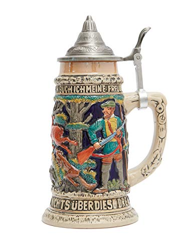 HAUCOZE Beer Stein Beer Mug Germany Hunting Life Engraved Tankard with Petwer Lid for Gifts Souvenirs Giftbox 0.6 Liter
