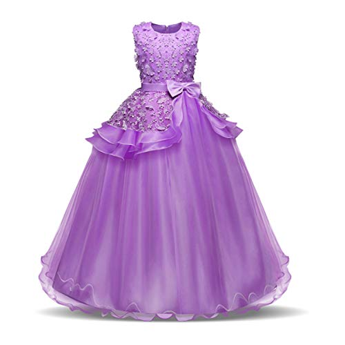 NNJXD Girl Sleeveless Embroidery Princess Pageant Dresses Kids Prom Ball Gown Size (130) 6-7 Years Purple