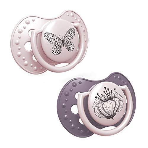 LOVI 2x Silikon-Schnuller | ab 6 bis 18 Monate | Komfortabler Ring zum greifen | Hygienische Abdeckung im Set | Schützt den Saugreflex | BPA frei | Botanic Girl | Rosa