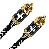 Subwoofer Cable EMK Male to Male Digital Coaxial Cable Dual Shielded with Gold Plated RCA to RCA Connectors (Male to Male, 10ft/3M)