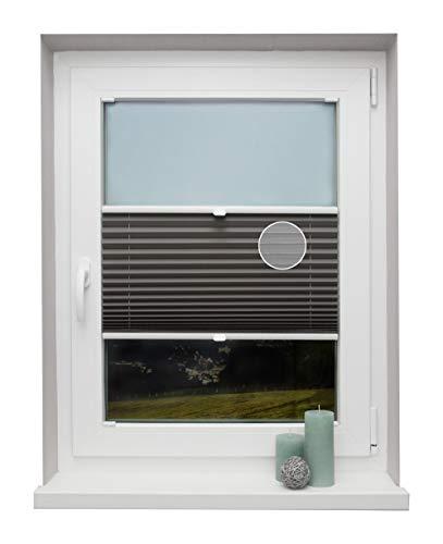 Plissee auf Maß Thermo für alle Fenster Montage in der Glasleiste Blickdicht mit Spannschuh Sonnenschutzrollo Dunkelgrau Breite: 101-110 cm, Höhe: 40-100 cm