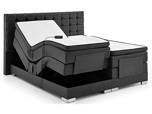 Boxspringbett elektrisch verstellbar 180 200x200cm Taschkenfederkern Doppelbett Ehebett Grau Anthrazit Dublin (180 x 200 cm, Anthrazit)