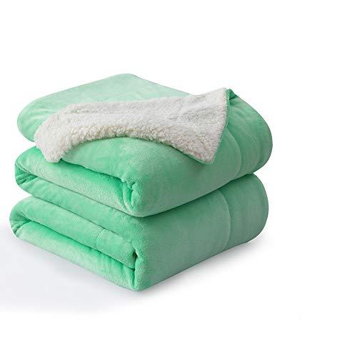 "NANPIPER Flannel Blanket Reversible Sherpa Throw Blanket Super Soft Plush Warm Fleece Microfiber (50""x60"",Neo-Mint Green)"