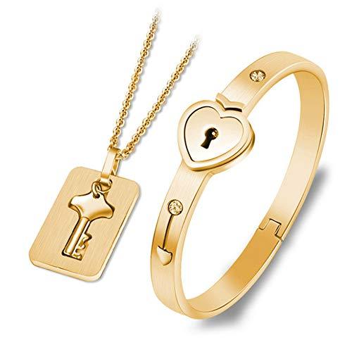 Joyería de regalo Día de San Valentín Hombres y Mujeres Pulsera de bloqueo concéntrico Collar de acero inoxidable (estilo1, oro)