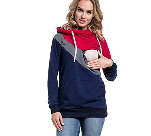 ODOKEI Sudaderas Lactancia Maternidad Sudadera Mujer Capucha Camisetas Premama Blusas de Embarazadas Camisas Lactancia Materna Blusas para Embarazadas Jovenes Ropa Lactancia Invierno Rojo M