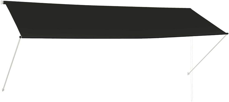 Tidyard Einziehbare Markise Sonnenmarkise Balkonmarkise Handbetrieben Sonnenschutz Stoffgewicht 180 g m2 350 x 150 cm Anthrazit