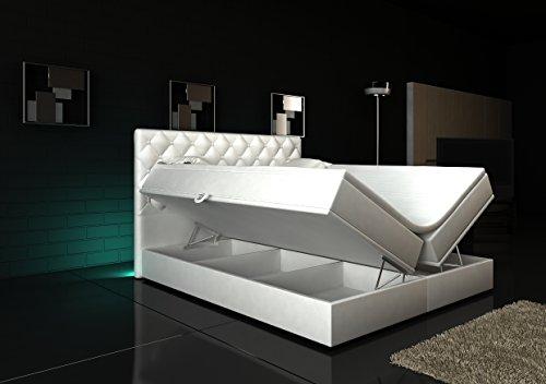Wohnen-Luxus Boxspringbett Weiß Panama Lift 180x200 inkl. 2 Bettkästen Hotelbett Bett LED Chesterfield