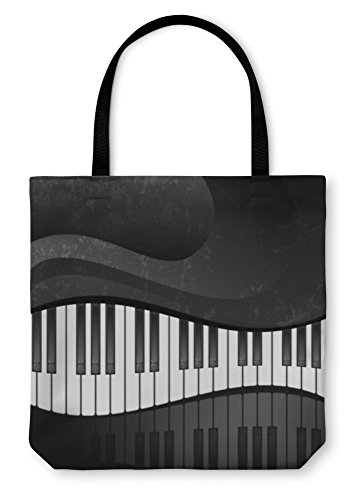 Gear New Tote Bag Shoulder Tote Hand Bag Grunge Abstract With Piano Keys Large