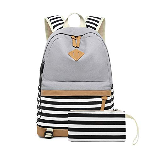 Mochila escolar portátil 15.6 pulgadas lona bolsas conjunto para adolescentes niñas con USB gris