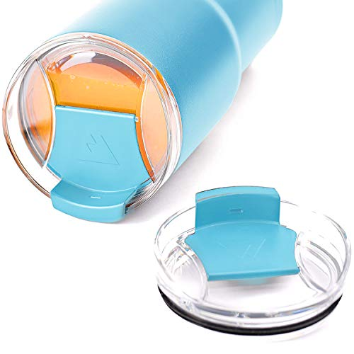 DSCVR 2-Piece Enhanced Tumbler Replacement Lid - Spill Proof, Shatter Resistant, Perfect Fit, Clear Cup Lids - Compatible with YETI Rambler, Ozark Trails (20 oz, Teal)