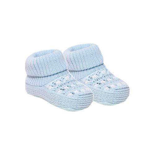 Babyschuhe für Neugeborene Mädchen und Jungen, mit Schleife, gestrickt, gehäkelt, weiche Schuhe, Socken für Babys Gr. 0 Monat, Blau (S402)