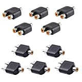 Hosyl RCA Split Adapter for Audio Video AV TV Cable Convert, Includes 5xRCA Female to Dual RCA Male,5xRCA Female to Dual RCA Female