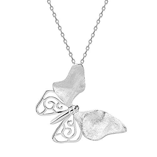 Serie de mariposas simples collar de mariposa de estilo rural retro estilo antiguo femenino accesorios Hanfu s925 cadena de clavícula colgante de plata