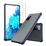 【1 Case + 2 Screen Protectors】 YEHUA Designed for Samsung Galaxy S20 FE 5G Case, Slim Translucent Matte PC with Soft Edges, Shockproof and Protective Phone Case for Samsung S20 FE (Blue)