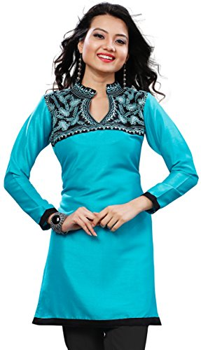 Indian Short Kurti Top Tunic Embroidered Women's India Clothes (Turquoise, 4XL)