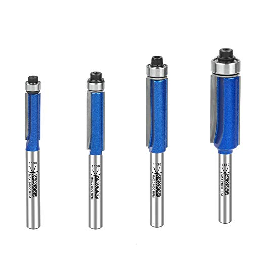 KOWOOD Plus Straight Flush Trim Router Bit Set in C3 Carbide Tipped for Woodwork