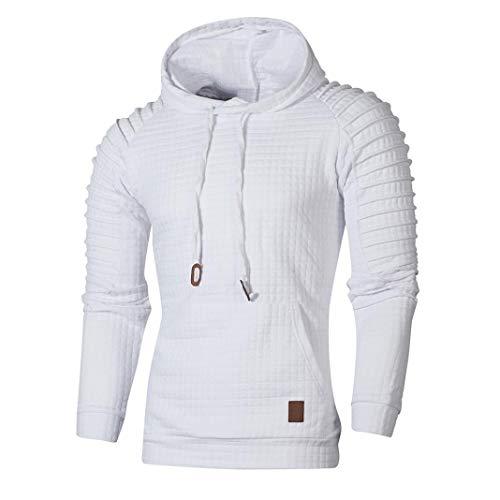 ZIYOU Herren Herbst Sweatshirt Langarm Pullover mit Kapuzen, Männer Kariert Hoodie Outwear Hemd Sport T shirts Top Tee (XL,Weiß)