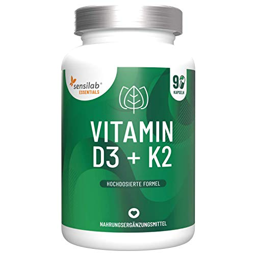 Vitamin D3 + K2 - Vitamin D Hochdosiert 5000 IE + K2 200 mcg, 99,8% All-Trans MK-7 (K2VITAL® Delta) - 90 Kapseln - Nur 1 Kapsel Alle 7 Tage | Hergestellt in der EU