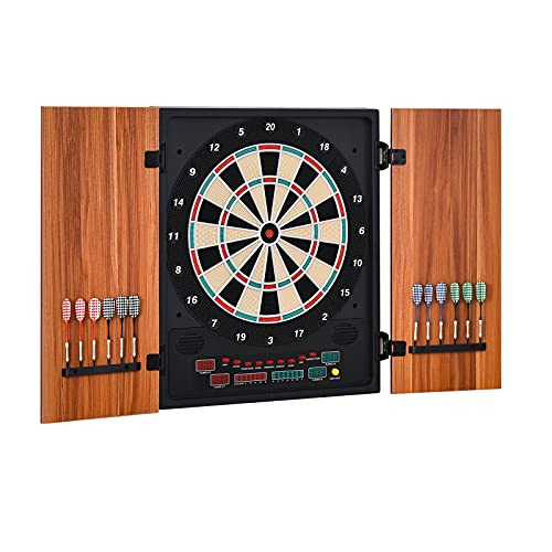 Soozier Electronic Dartboard Set 27 Games and 202 Variations with 12 Darts and Cabinet to Storage Multi-Game Option Ready-to-Play