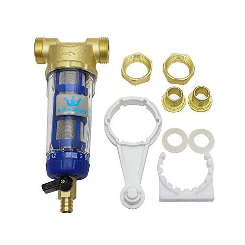 Topway reutilizable prefiltro lavable sedimento filtro agua grifo purificador agua acero inoxidable 60 micrones