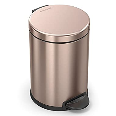 simplehuman Round Step Trash Can Steel, 4.5L / 1.19 Gal, Rose Gold