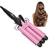3 barili Ferri ondulati Big Waves Curls, Strumento per lo styling dei capelli per lunghi/corti, Curling Iron Waves Temperatura costante Tormalina Ferro arricciacapelli(rosa)
