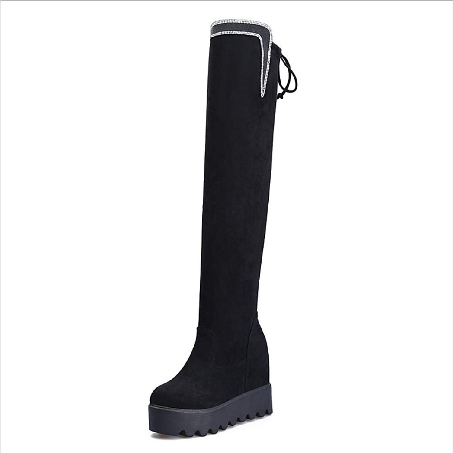 Women's Ladies Over The Knee HIGH Boots Platform Invisible Height 10cm Wedge Heel Suede High Boots Diamonds Plus Velvet Warm Stretch Thigh HIGH Boots