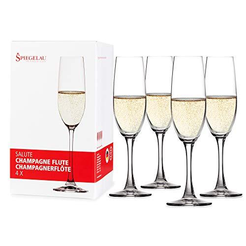 Spiegelau & Nachtmann, 4-teiliges Champagnerflöten-Set, Kristallglas, 210 ml, Salute, 4720175