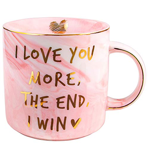 Vilight Gifts for Women Girlfriend Wife - I Love You More The End I Win Mug for Her - Marble Pink Coffee Cup 115 Oz