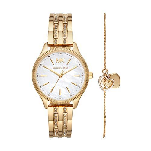 Michael Kors Women's Lexington Quartz Watch with Stainless Steel Strap, Gold, 16 (Model: MK4492)
